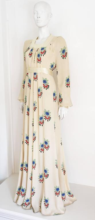 Ossie Clark summer evening dress with Celia Birtwell print, c.1970s In Excellent Condition For Sale In London, GB