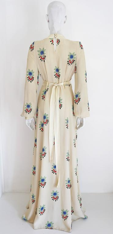 Women's Ossie Clark summer evening dress with Celia Birtwell print, c.1970s For Sale