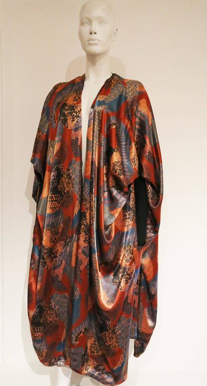 Brown Jean Paul Gaultier draped satin dress coat, c. 1980s For Sale