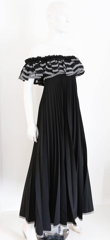 Women's Jean Varon off the shoulder pleated empire evening gown, c. 1970s For Sale