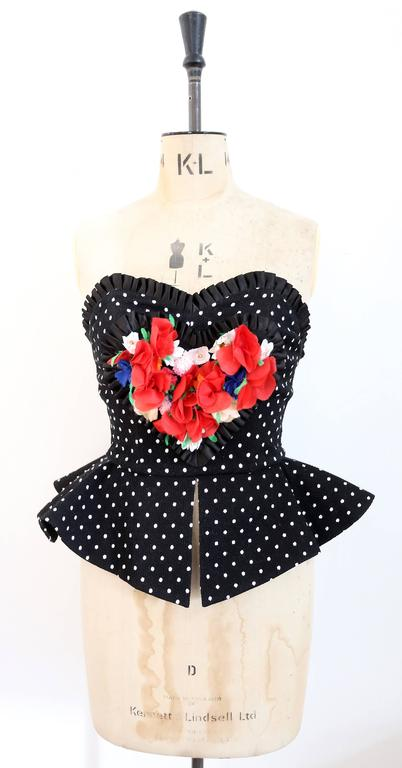 Women's Christian Lacroix polkadot peplum bustier, SS 1988 For Sale