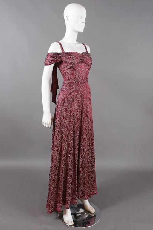 Bias cut off-the-shoulder lamé silk evening dress, C. 1930s For Sale ...