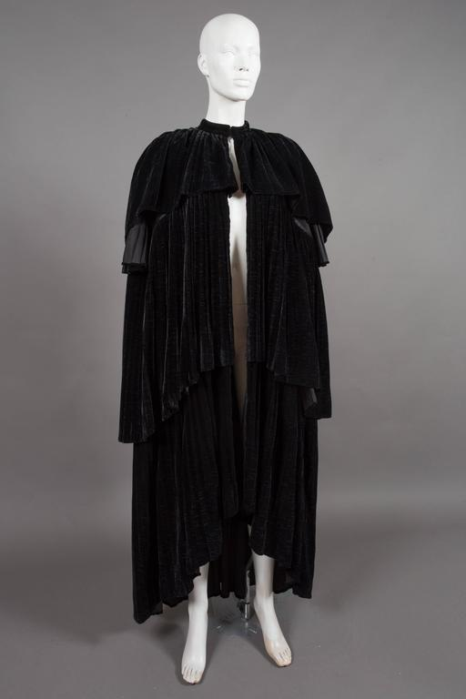 Thea Porter Pleated Black Silk-Velvet Tiered Evening Cape Coat, C. 1970 6