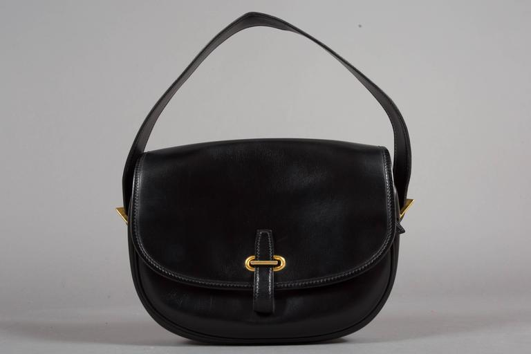 Hermes Black Box Leather Balle de Golf Flap Bag With Gold Hardware, c. 1972 8