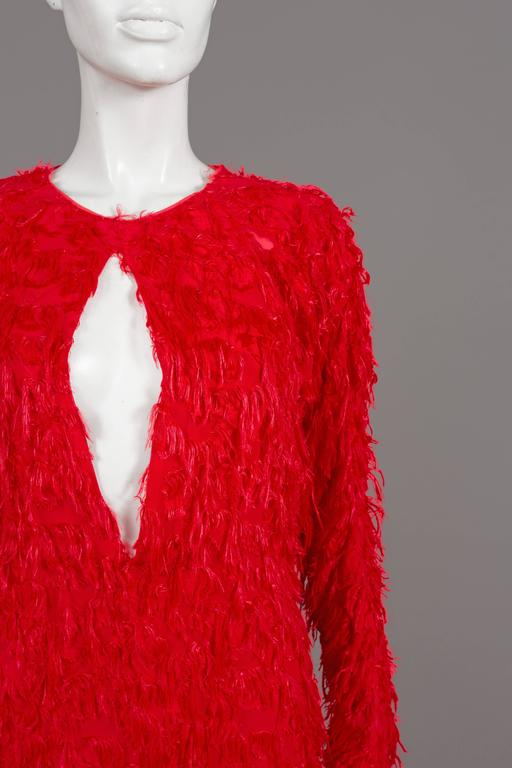 Chloé red fringed silk evening dress, C. 2014 For Sale 3