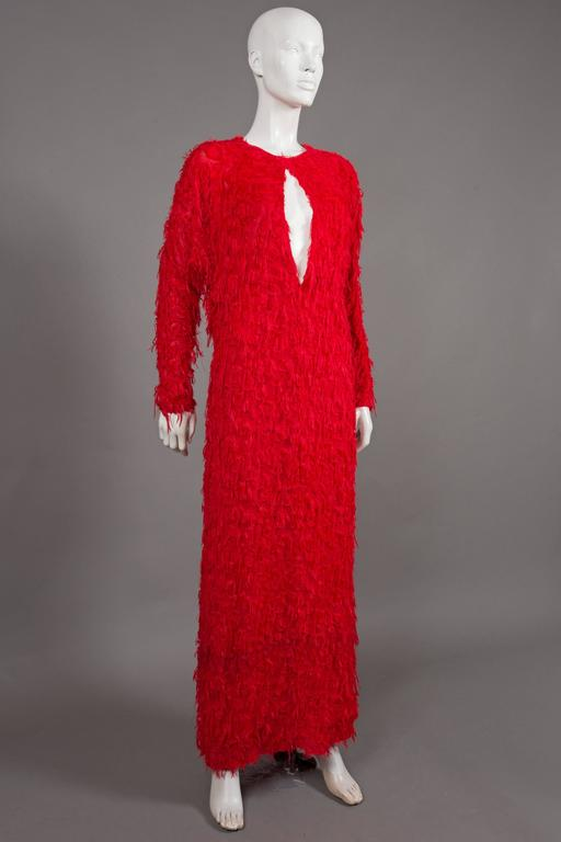 Chloé red fringed silk evening dress, C. 2014 For Sale 4