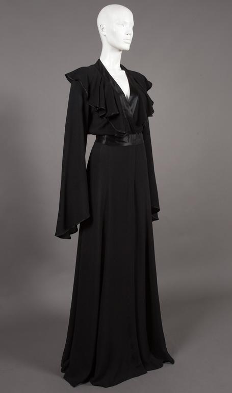 Ossie Clark couture black moss crêpe wrap around evening dress, c. 1970 For Sale 3