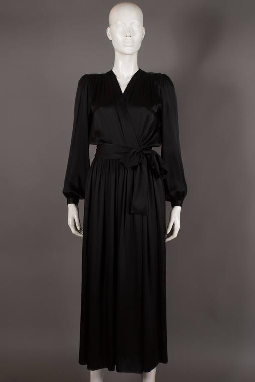 Yves Saint Laurent silk evening wrap dress, circa 1985 8