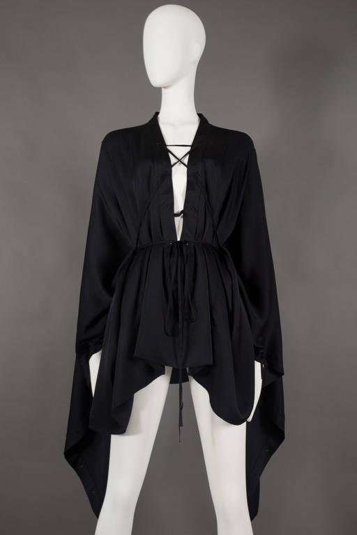 Gucci by Tom Ford black silk evening lace up poncho blouse, circa 2002 2