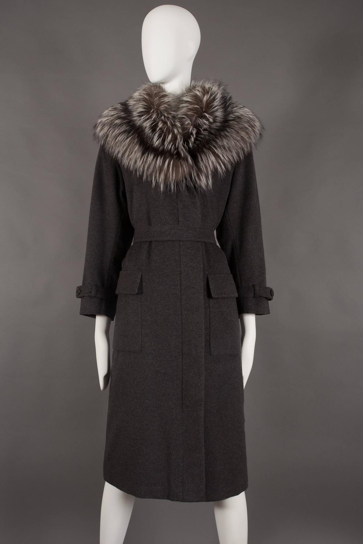Yves Saint Laurent Cashmere Fall Coat With Fox Fur Collar