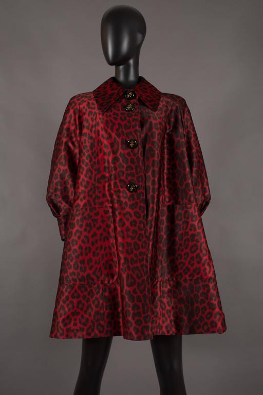 Jaques Fath red leopard print evening silk swing coat, circa 1992 10