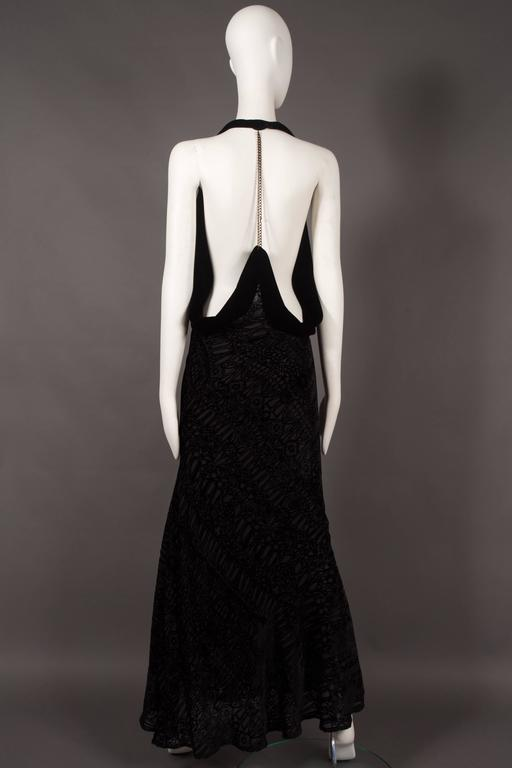 Alexander McQueen black silk devore bias cut evening dress, circa 2004. 