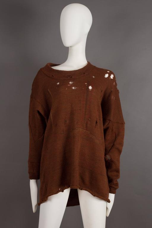 Worlds End by Vivienne Westwood and Malcolm McLaren distressed knitted sweater, pirate style. Circa 1981