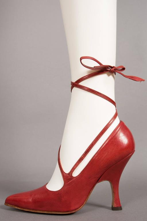 Vivienne Westwood Red Leather Lace Up Stilettos Circa 1997 For Sale At 1stdibs