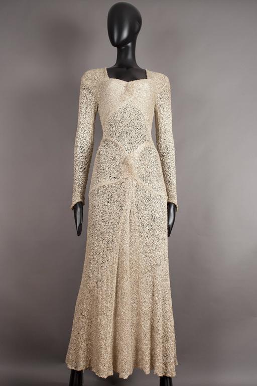 Ann Dawson ivory lame lace knit evening dress, circa 1930s.