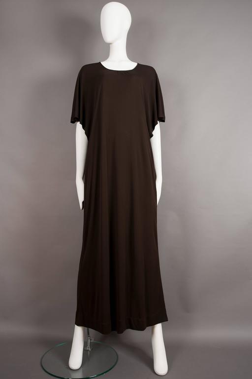 Black Yves Saint Laurent chocolate brown silk jersey caftan, circa 1970s For Sale