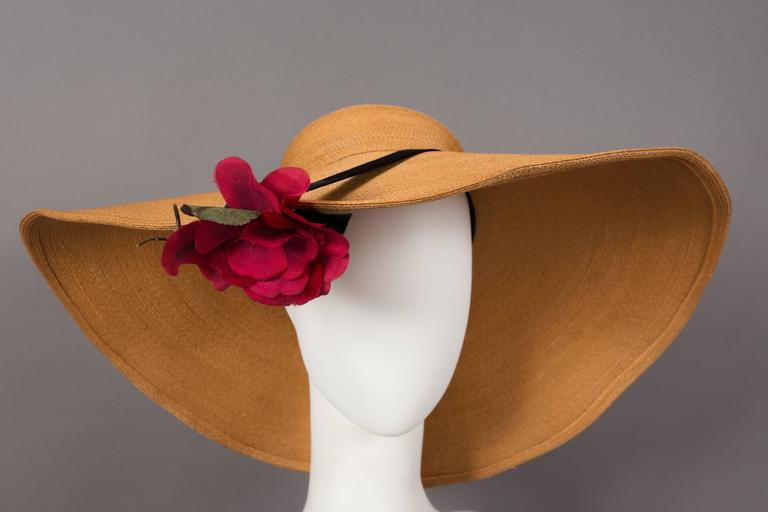 Keneth Hopkins wide brim straw sunhat, circa 1940s. 
