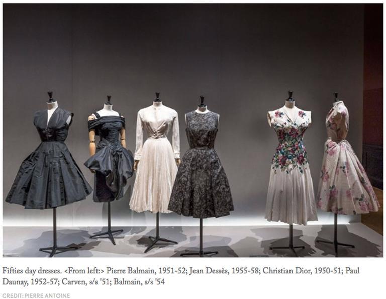 Paul Daunay drop waist silk cocktail dress, circa 1952-57 9