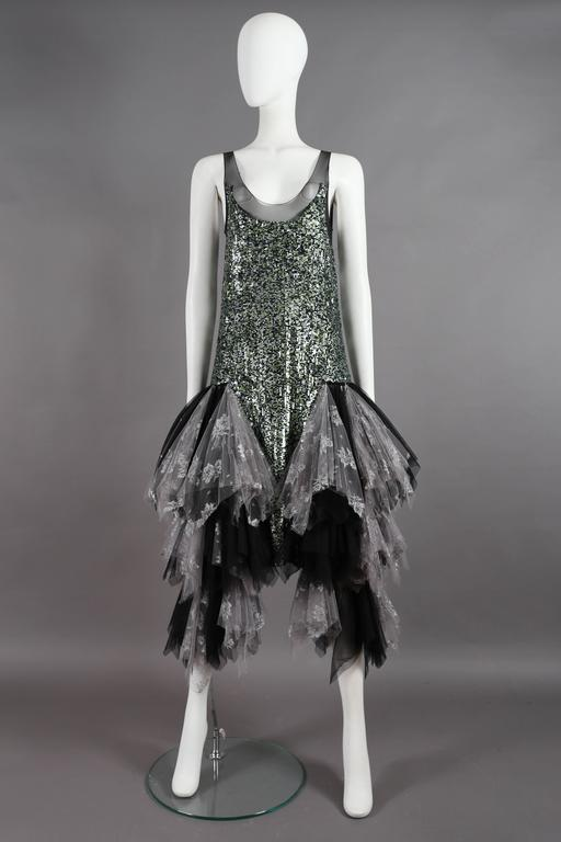 Fine and Rare Alexander McQueen sequined flapper dress with voluminous layered tulle skirt, Autumn-Winter 2001 'What A Merry Go Round' collection.