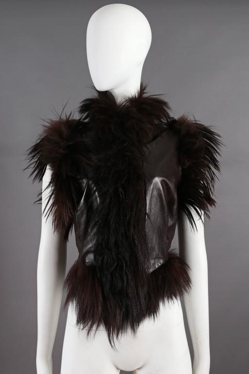 Alexander McQueen goat hair and leather gillet jacket, circa 2000 2