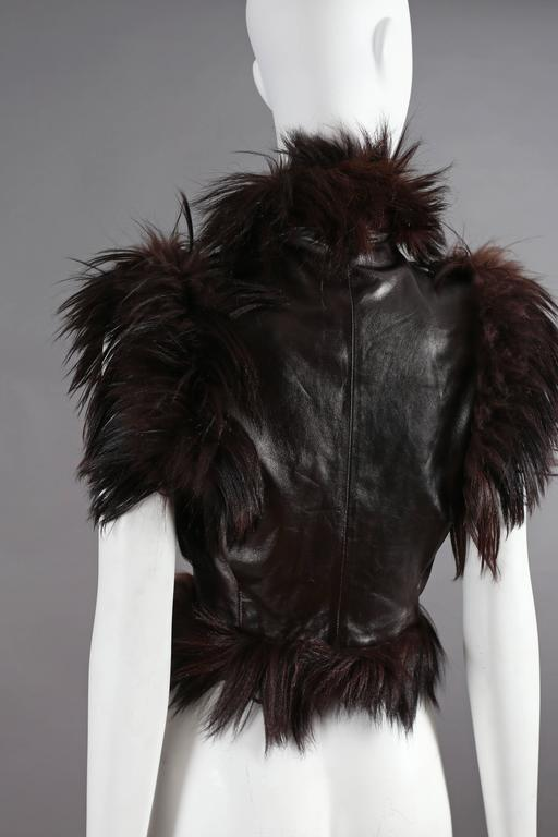 Alexander McQueen goat hair and leather gillet jacket, circa 2000 6