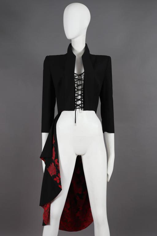 Alexander McQueen 'The Dance of the Twisted Bull' Matador jacket with lace up closure and red silk lining, Spring-Summer 2002