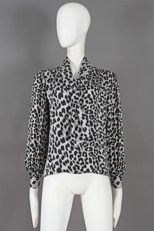 Black Yves Saint Laurent leopard print pussy bow silk blouse, circa 1970s For Sale