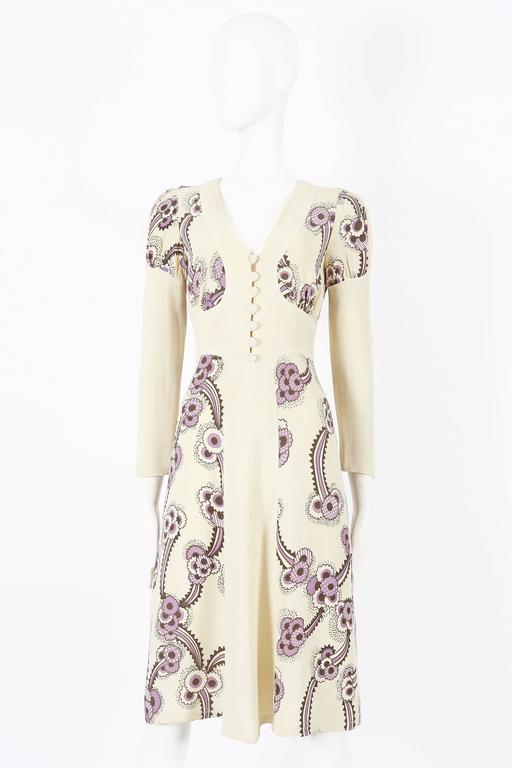 Rare Ossie Clark ivory moss crepe dress, with 'Floating Daisies' print by Celia Birtwell. Circa 1970s.