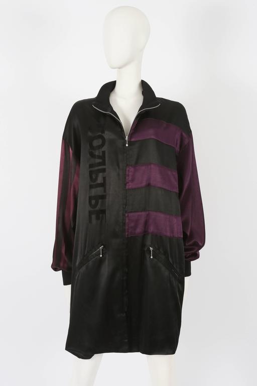 Rare Jean Paul Gaultier unisex oversized satin bomber jacket from the 'Russian Constructivist' Autumn-Winter 1986-87 collection.
