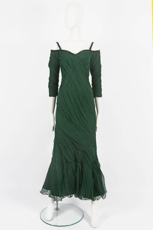 Antony Price bias cut chiffon evening gown with beaded trim, circa 1980s