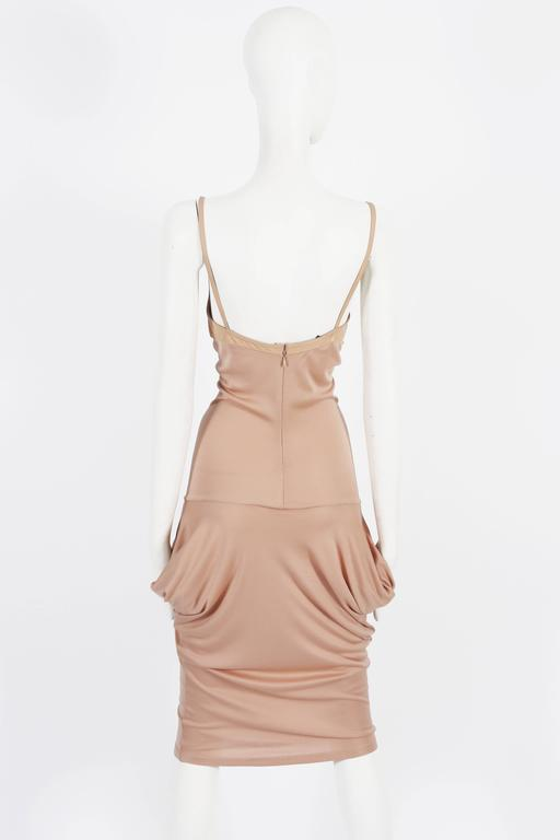 Alexander McQueen nude silk jersey dress with leather bra, circa 2003 In Good Condition For Sale In London, GB