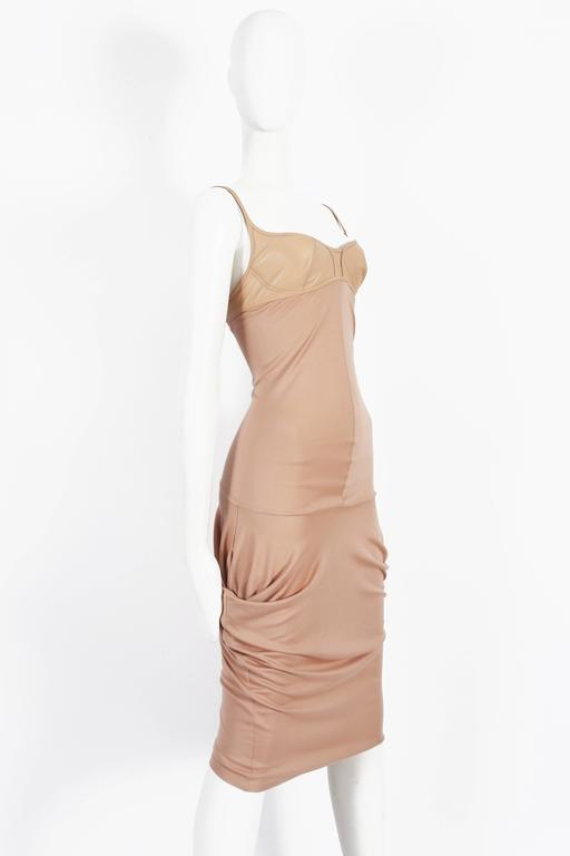 Beige Alexander McQueen nude silk jersey dress with leather bra, circa 2003 For Sale