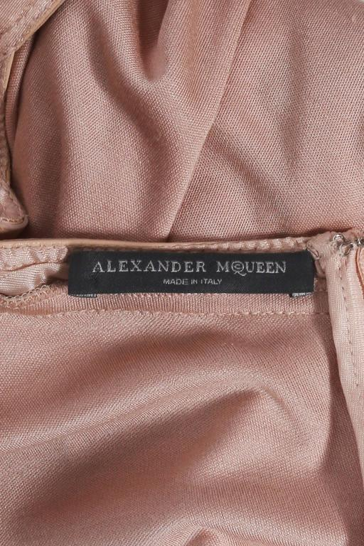 Alexander McQueen nude silk jersey dress with leather bra, circa 2003 For Sale 1