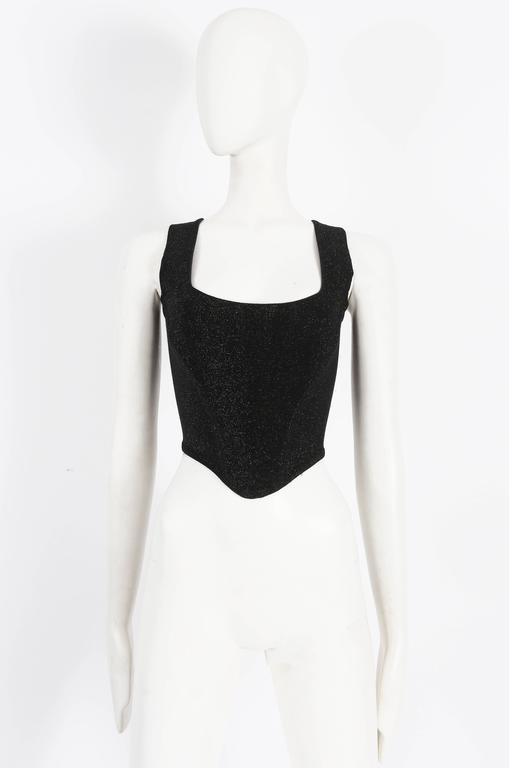 Black Vivienne Westwood lurex evening corset, circa 1990s For Sale
