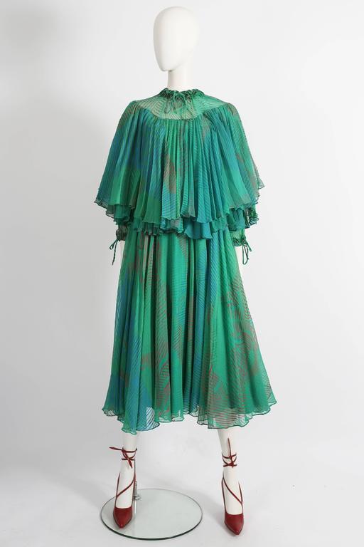 Ossie Clark Celia Birtwell couture silk chiffon screen-print dress, circa 1976 2