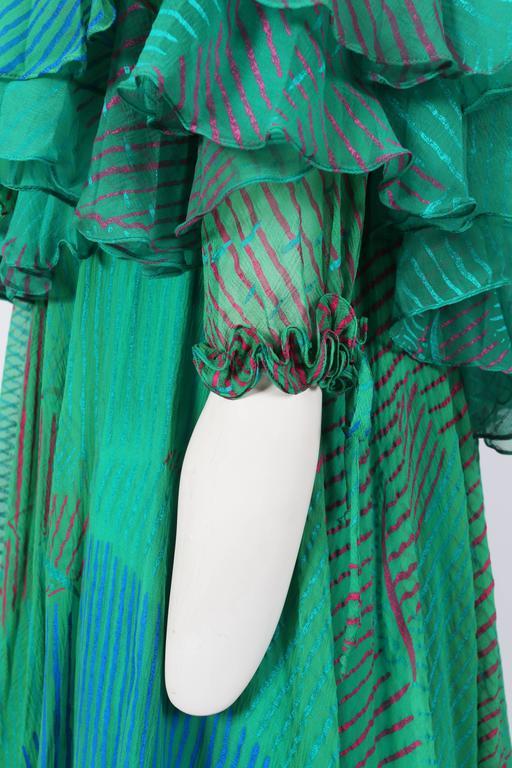 Ossie Clark Celia Birtwell couture silk chiffon screen-print dress, circa 1976 8