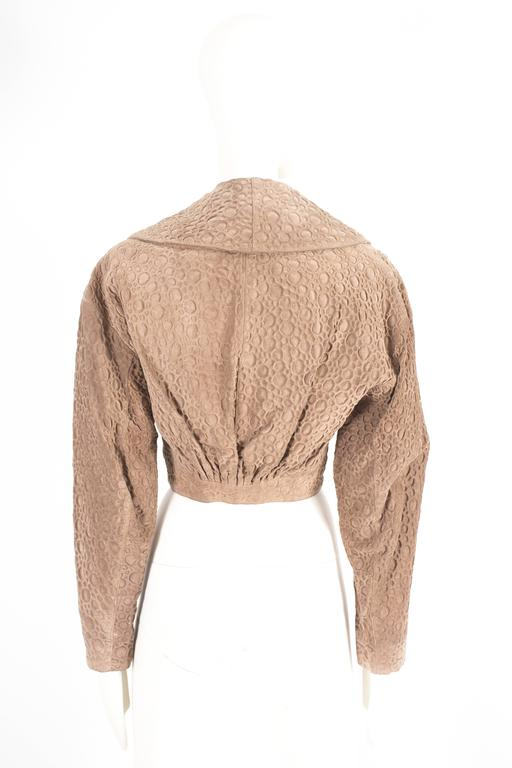 Alaia taupe leather bolero jacket, circa 1987 For Sale 1