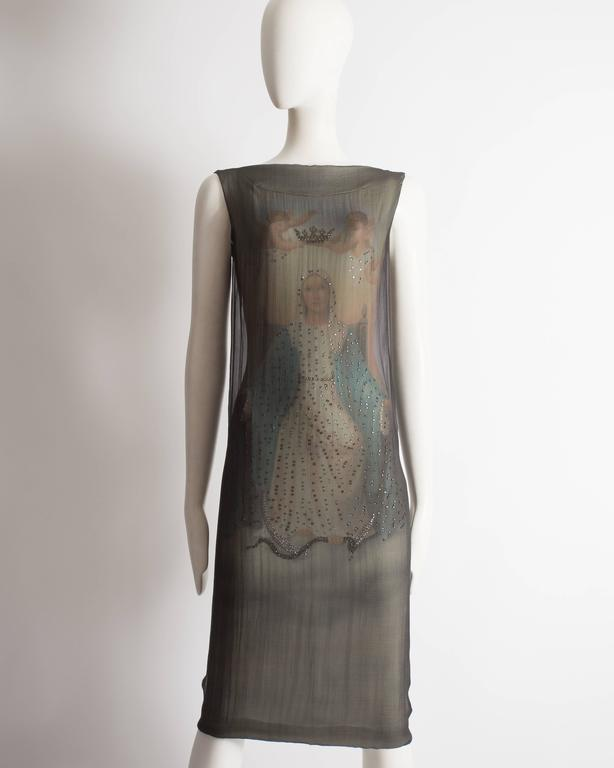 Dolce & Gabbana evening shift dress constructed in silk chiffon with Virgin Mary digital print highlighted with gems.   Spring-Summer 1998