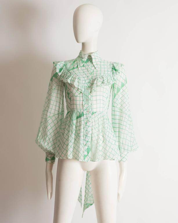Ossie Clark voile blouse with Celia Birtwell print, circa 1972 2