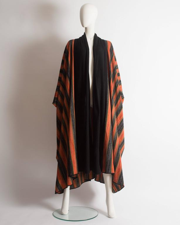 Early and rare Issey Miyake striped knitted robe with ribbed cuffs and collar, autumn-winter 1976