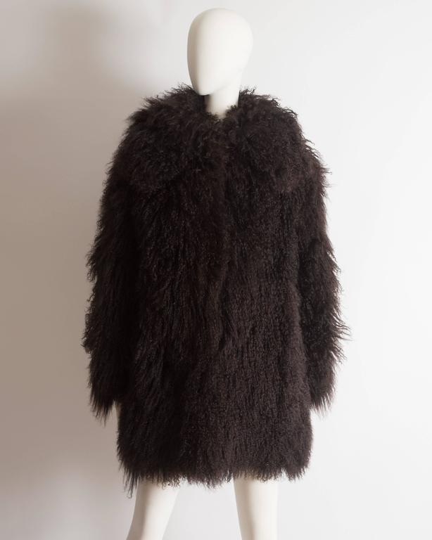 Alaia oversized brown Mongolian lamb coat, circa 2000s 2