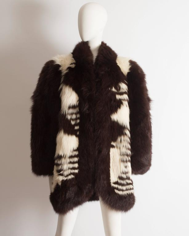 Yves Saint Laurent oversized wild fox coat, circa 1980s 2