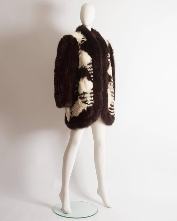 Yves Saint Laurent oversized wild fox coat, circa 1980s 5
