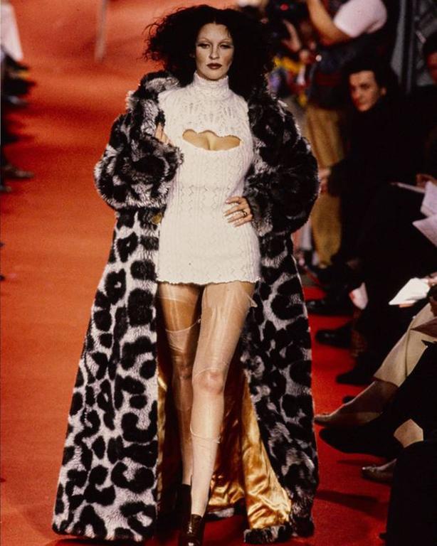 Black Vivienne Westwood corseted crochet knit mini dress, AW 1993 For Sale
