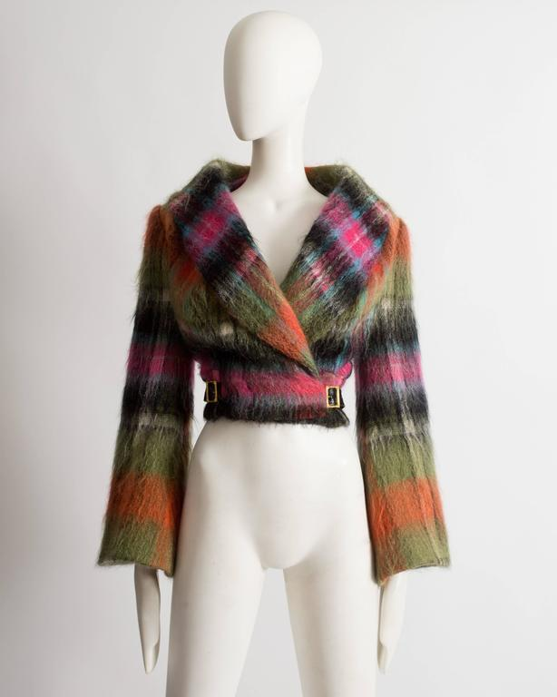 Important Vivienne Westwood tartan mohair wool jacket with bell sleeves, two gold buckle fastenings on the waist and hair print acetate lining. 