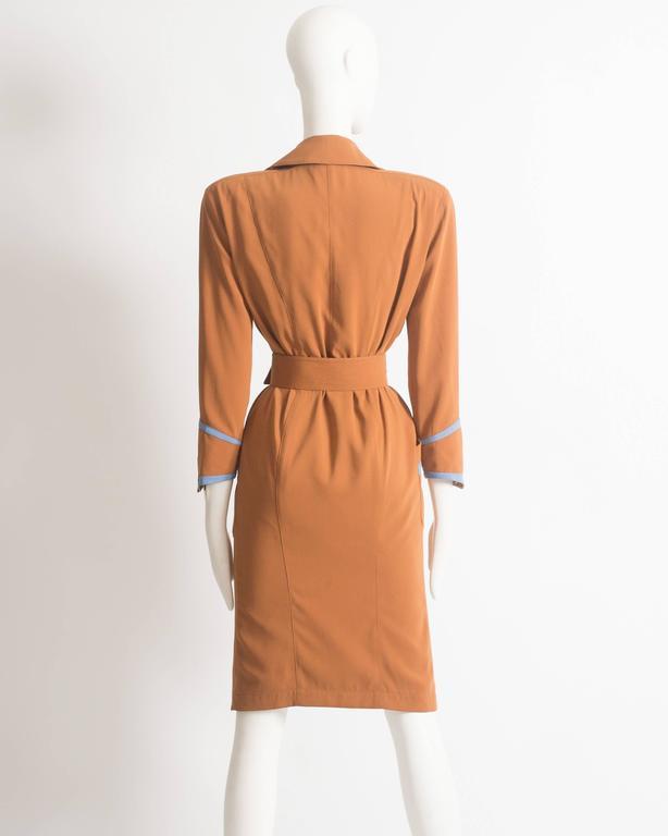 Thierry Mugler mustard gabardine shirt dress, AW 1986 7