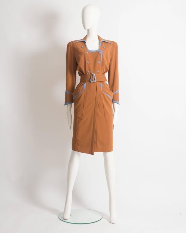 Thierry Mugler mustard gabardine shirt dress, AW 1986 2