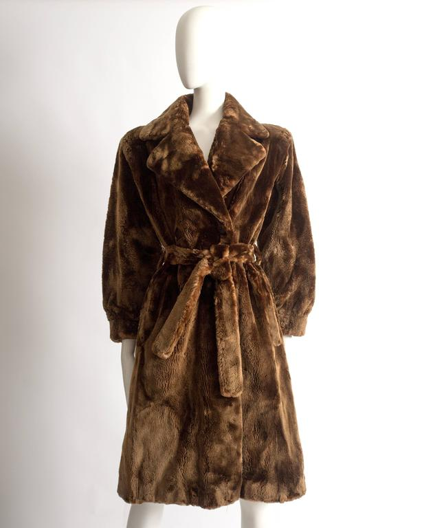 Brown Yves Saint Laurent Haute Couture sheared beaver fur coat, AW 1985 For Sale