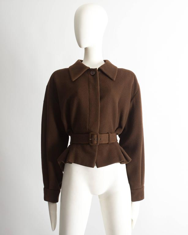 Christian Dior Haute Couture brown cashmere wool jacket, AW 1988 2