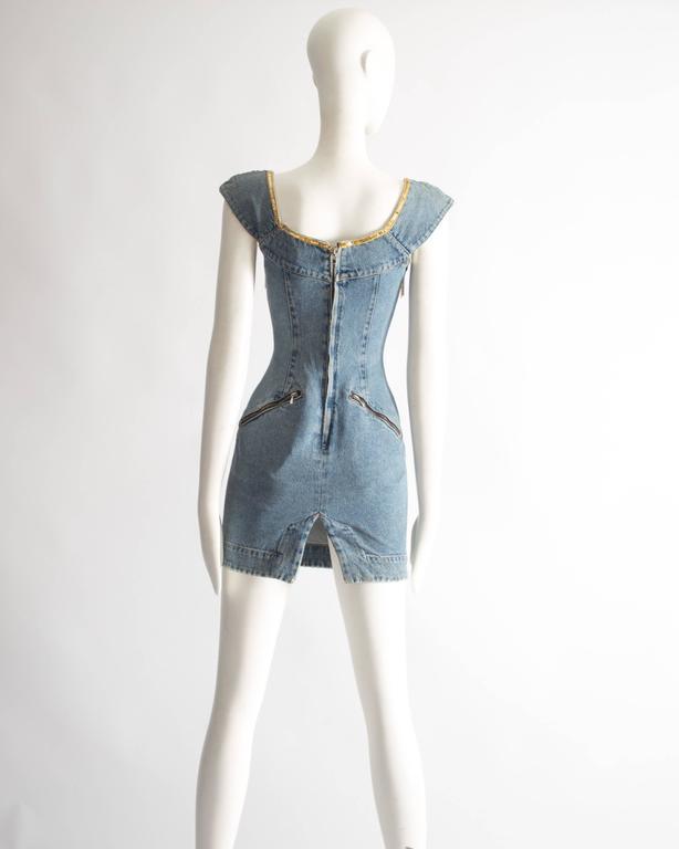 Katharine Hamnett denim mini dress with tassels, circa 1990s For Sale 3